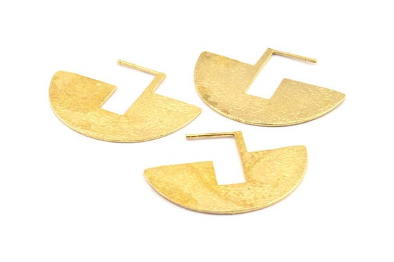 2 Pieces  Brass Base  Earring Post  Earring Component  Earring Finding  Irregular C4330