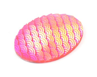 Mermaid Oval Cabochon, 6 Pink Resin Oval Cabochon (40x30x6mm) E311