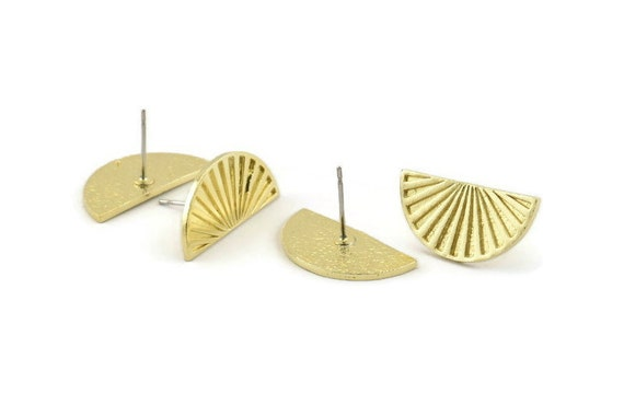 Pendants 12 Raw Brass Textured Half Moon Blanks With 1 Hole 19x15x0.80mm Earrings Semi Circle Charm D769