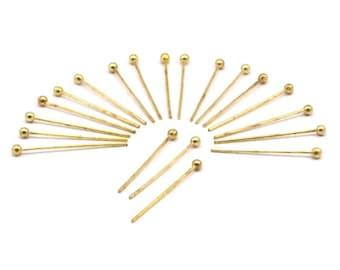Brass Ball Pin, 100 Raw Brass Ball Pins (20mm) Brc223
