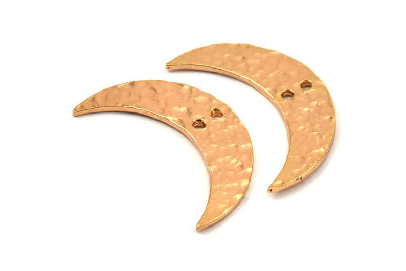 Hammered Moon Crescent Charm 30x8x1.2mm N387 Q066 2 Rose Gold Plated Brass Hammered Moons with 2 Holes