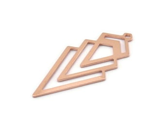 Copper Triangle Charm, 4 Raw Copper Diamond Charms With 1 Loop (49x22x1mm) M01142