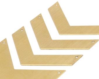 7 Raw Brass Chevrons 2 Holes (60x20x0.80mm)  D415--N624