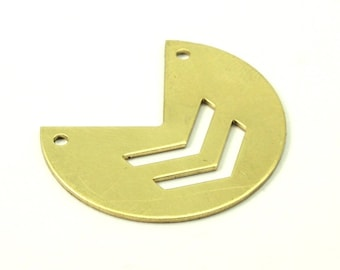 Chevron Necklace Finding, 20 Raw Brass Three Quarters Stamping Blank Pendant With 2 Holes (30x25x0.80 Mm) (b0013)