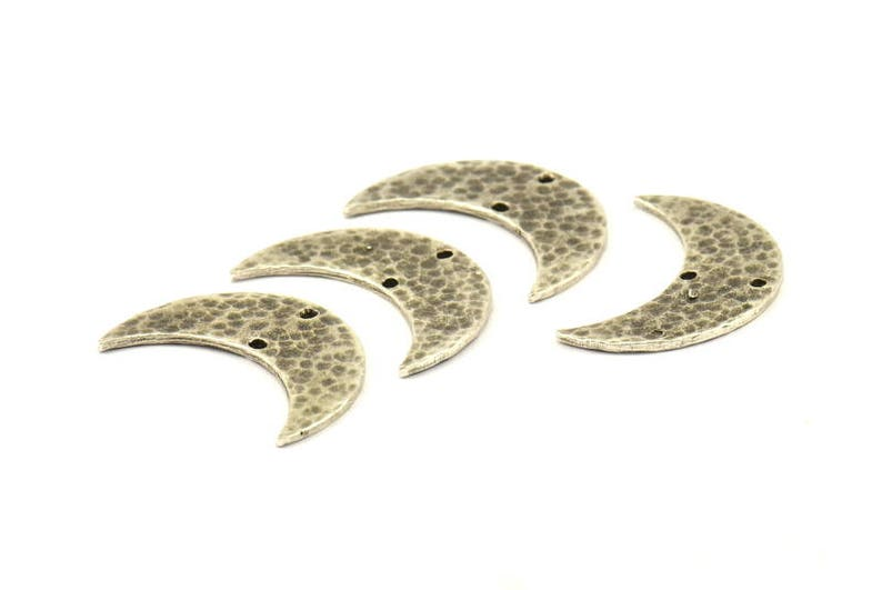 1 Antique Silver Plated Brass Hammered Moons with 2 Holes N388 H038 Antique Silver Hammered Crescent Charm 30x11x1.2mm