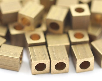 15 Raw Brass Square Cube Beads, End Caps (6x5mm) A0684