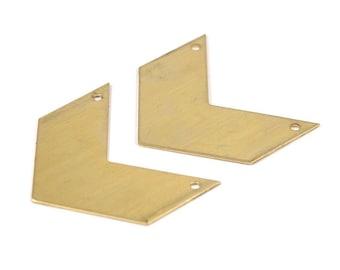8 Raw Brass Chevrons 2 Holes (40x20x0.80mm) A0832--n603