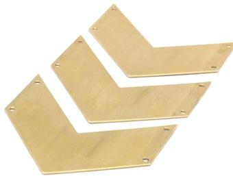 6 Chevron Raw Brass Blanks (60x25x0.80mm) A0835--n649