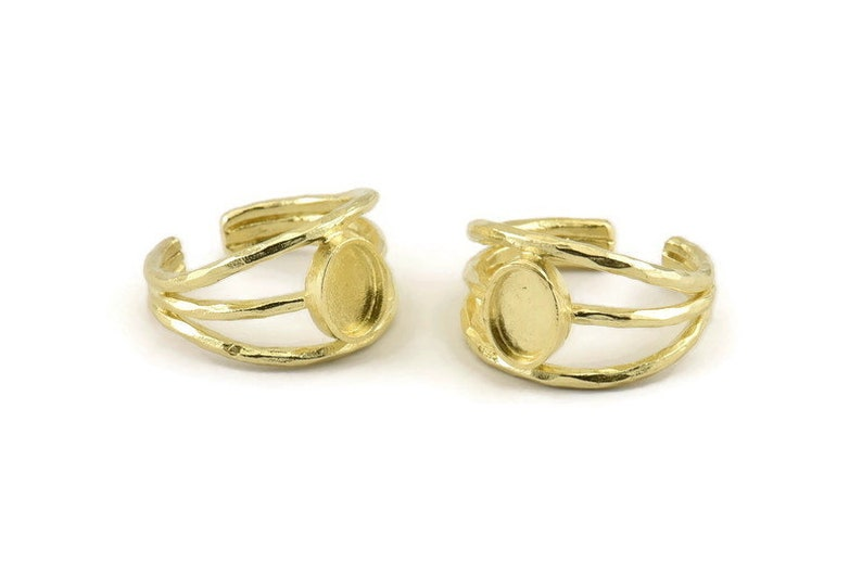 2 Raw Brass Adjustable Rings With 1 Stone Settings Pad Size 8x6mm N1264 Brass Ring Setting
