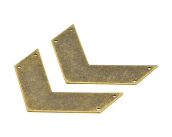 Antique Brass Chevrons Charm, 3 Antique Brass Plated Chevron Pendant with 4 Holes (60x20x0.80mm) A0868--n623