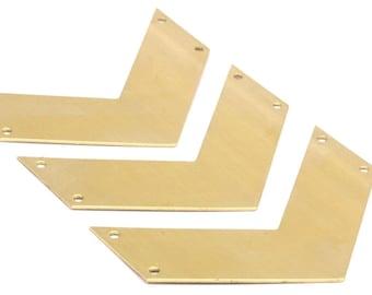 Brass Chevron Charm, 7 Raw Brass Chevrons 4 Holes (60x20x0.80mm) A0868--n623