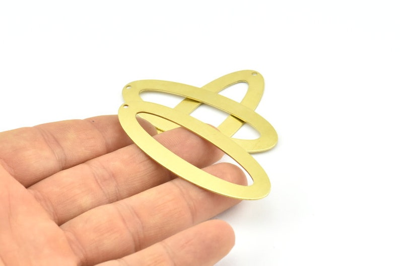 59x24x0.70mm 4 Raw Brass Ellipse Shape Stamping Blank Charms With 1 Hole Earrings B0248 Findings Brass Ellipse Charm