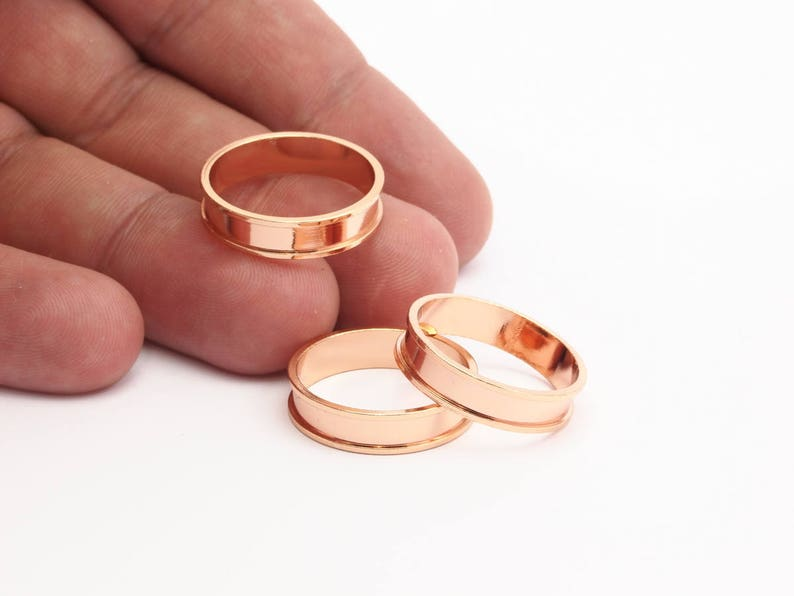 19mm N481 Q115 1 Rose Gold Plated Brass Channel Ring Setting Rose Gold Channel Ring