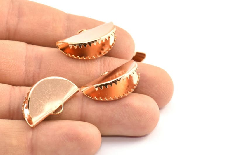 D404 Q179 4 Rose Gold Plated Ribbon Crimp Ends With 1 Loop Findings 25x12mm