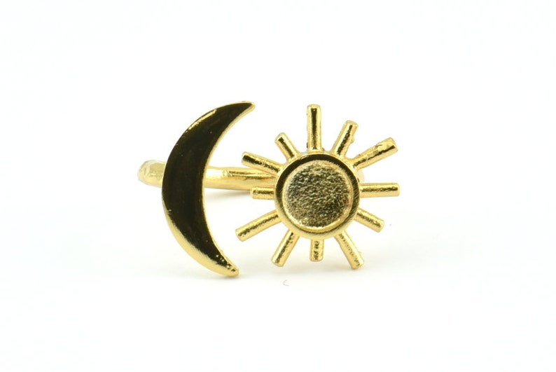 Gold Ring Settings 1 Gold Plated Brass Moon And Sun Ring With 1 Stone Setting Pad Size 6mm R052 Q603