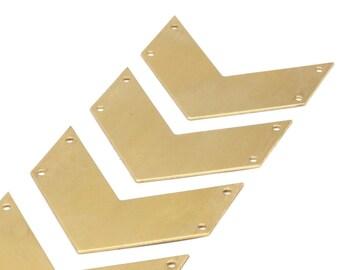 10 Raw Brass Chevrons 4 Holes (40x15x0.80mm) A0824--N600