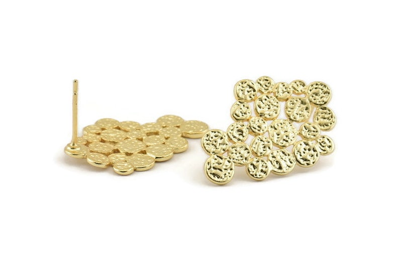 Gold Irregular Earring 2 Gold Plated Brass Irregular Stud image 0