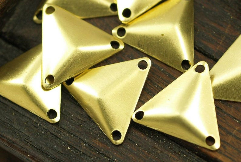 14mm Tiny Brass Pyramid 150 Raw Brass Triangle Cambered Pyramids With 3 Holes A0018 Finding