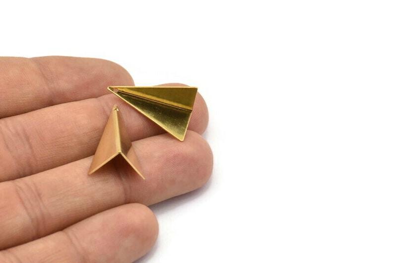 24mm 10 Raw Brass Gometric Triangles Bs 1339