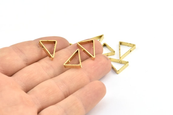 1911C-Q-280 51x34mm 20 Pieces Raw Brass Triangle Charm Earring Finding