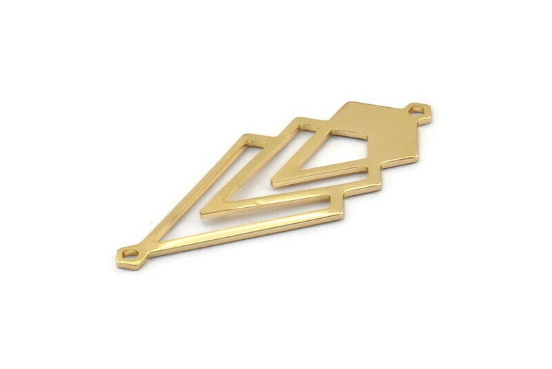 2 Gold Plated Brass Diamond Charms With 2 Loops Gold Triangle Charm M01152 Q1050 51x22x1mm