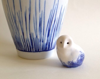 Mini porcelain snow owl with blue feathers, Barn Owl, Owl, Porcelain animal
