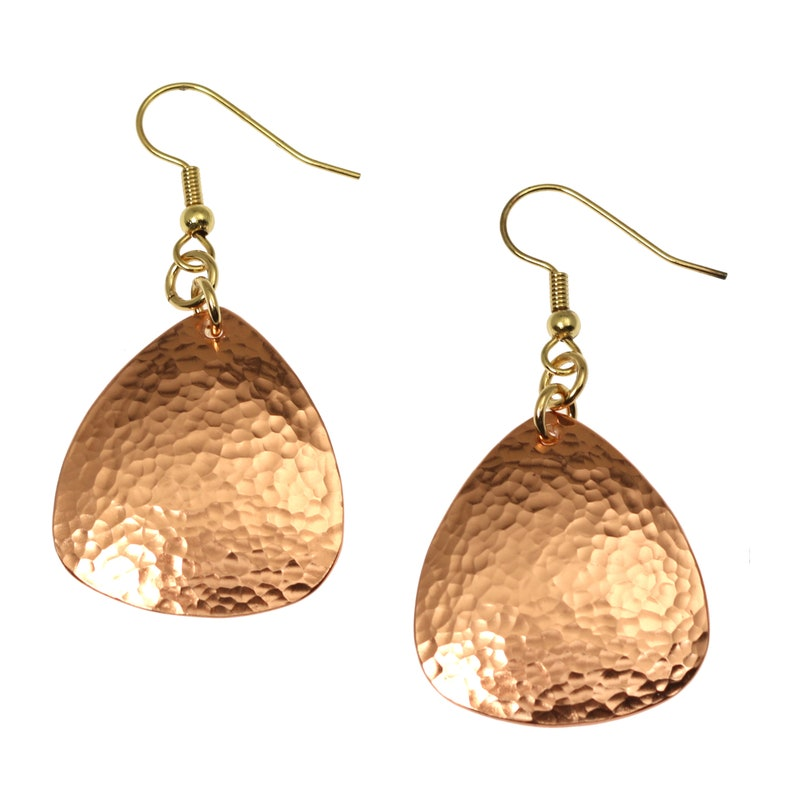 Hammered Copper Drop Earrings Hammered Copper Triangular image 0