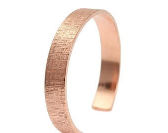 10mm Wide Linen Copper Cuff Bracelet - Linen Copper Cuff - Uncoated Solid Copper Cuff - Gifts for Her - Gifts for Him - 7 Year Anniversary