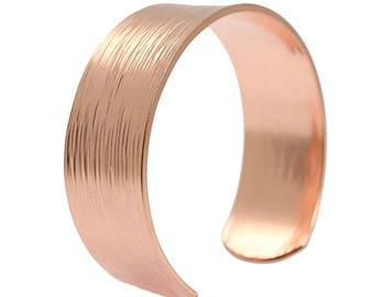 "Chased Copper Cuff Bracelet - 3/4"" Wide Copper Cuff Bracelet - 100% Uncoated Solid Copper Cuff"