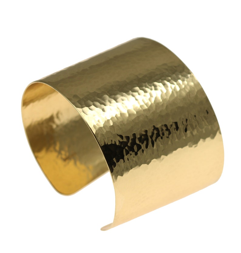 Hammered Gold Cuff Bracelet  Wide Gold Cuff Statement Gold image 0
