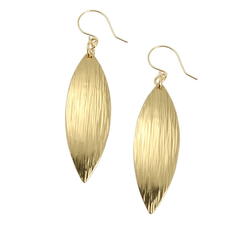 Gold Leaf Earrings  Chased Nu Gold Brass Leaf Earrings  Gold image 0