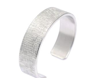 Mens Hypoallergenic Linen Aluminum Cuff - Silver Tone Bracelets - 10th Anniversary Gift - Unisex Aluminum Cuffs