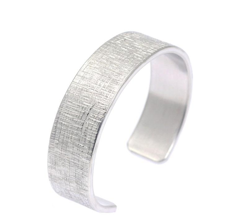 Mens Hypoallergenic Linen Aluminum Cuff  Silver Tone image 0