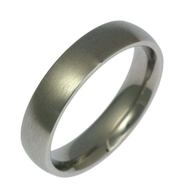 5mm Brushed Stainless Steel Mens Comfort Fit Wedding Band image 0