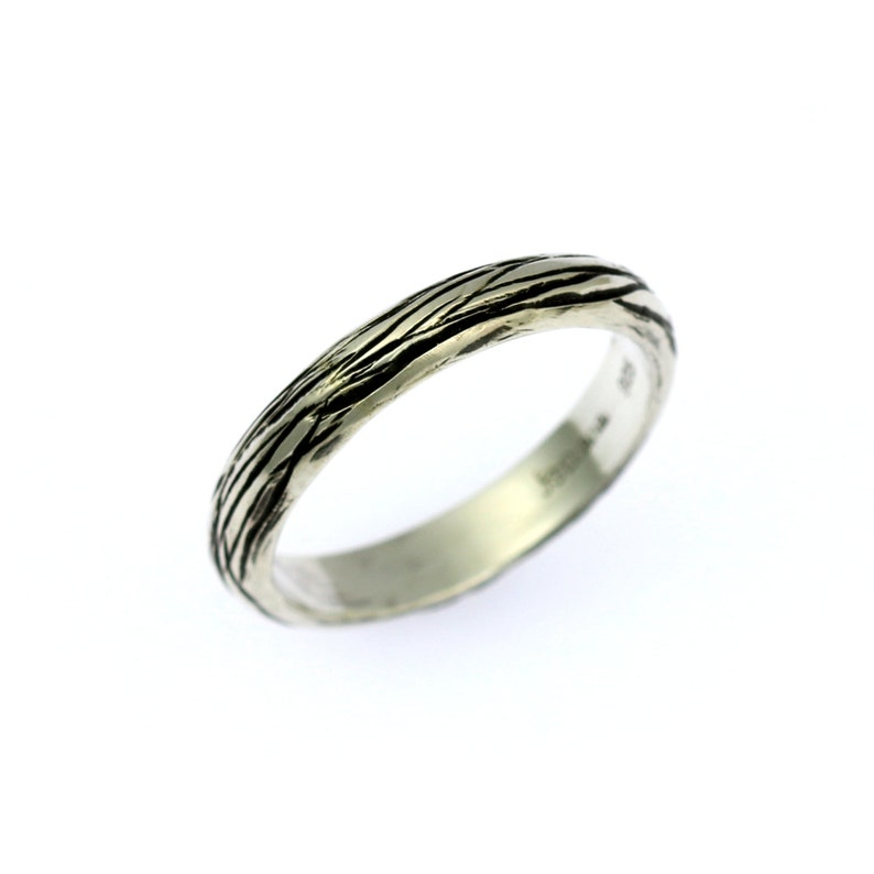 4mm Stackable Sterling Silver Bark Band Ring  Makes a great image 0