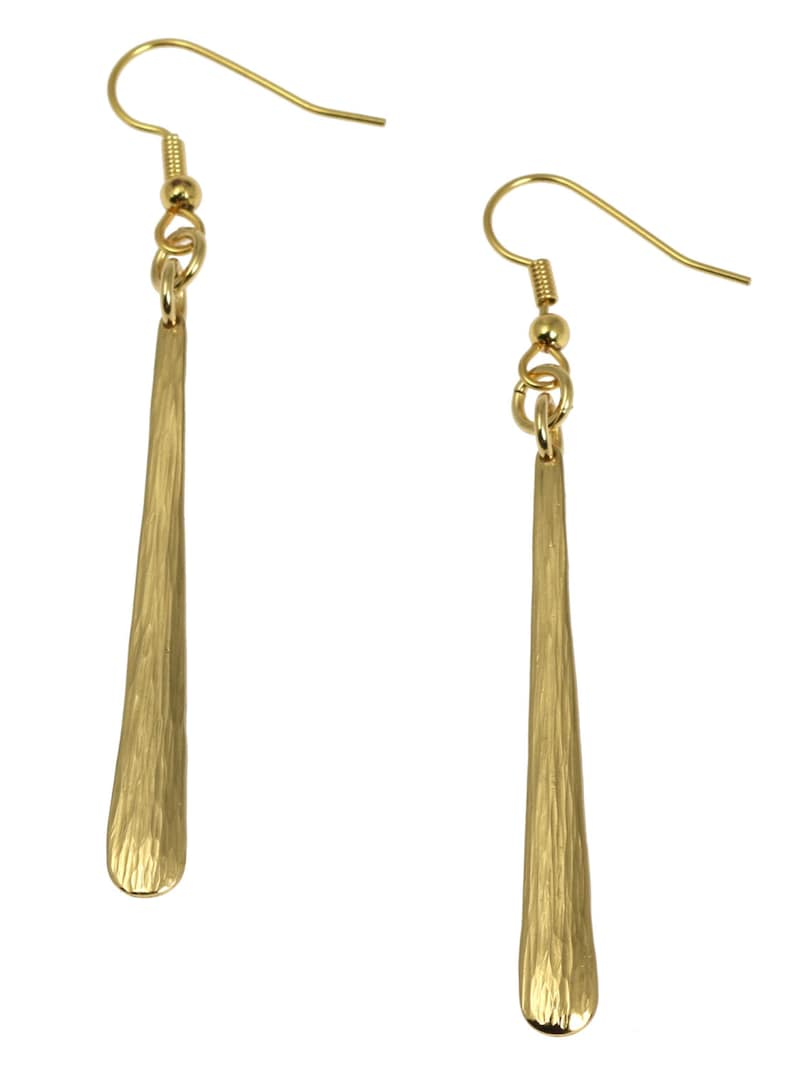 Mini Chased Nu Gold Drop Earrings   Gold Colored Dangle image 0