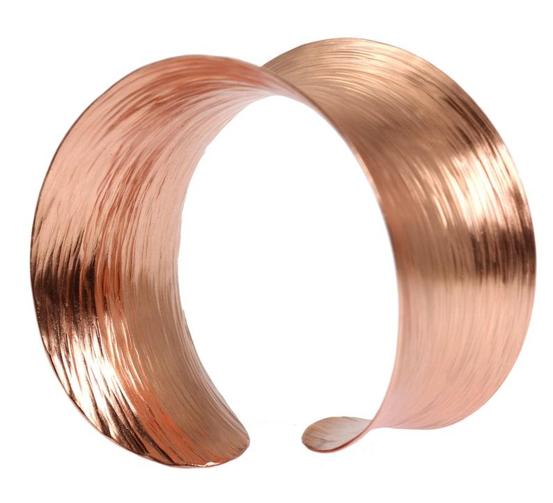 7 Year Anniversary Gift  Copper Bark Bangle Bracelet  7th image 0
