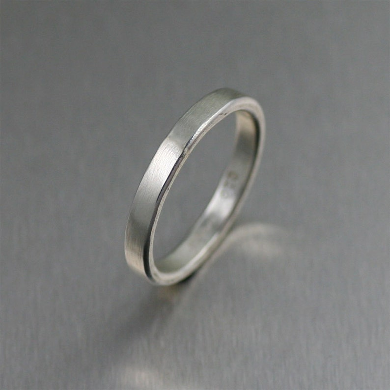 3mm Matte Stackable Sterling Silver Band Ring  Unisex Band image 0