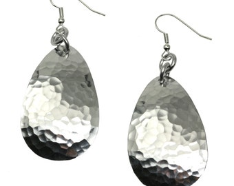 Large Hammered Aluminum Tear Drop Earrings - Silver Toned Earrings - Stylish 10th Anniversary Gifts for Her