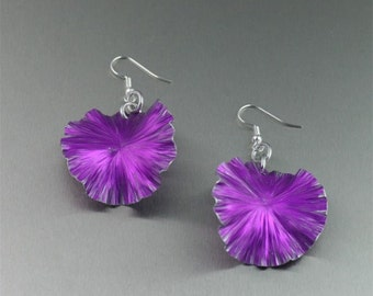 Violet Anodized Aluminum Lily Pad Earrings - Violet Leaf Earrings -  Violet Drop Earrings - Makes a Great 10th Wedding Anniversary Gift!