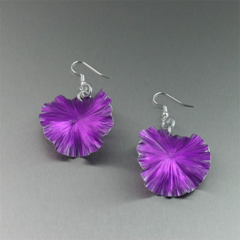Violet Anodized Aluminum Lily Pad Earrings  Violet Leaf image 0