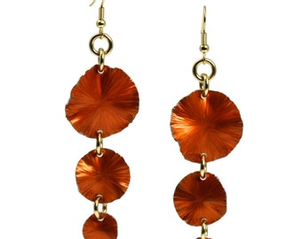 Three Tiered Orange Anodized Aluminum Lily Pad Earrings - Orange Leaf Earrings -  Orange Dangle Earrings