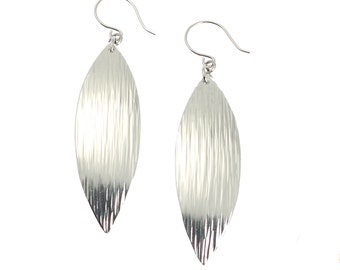 10 Year Anniversary Gift Chased Aluminum Leaf Earrings 10th Anniversary Gift For Her Ten Year Anniversary Gift Aluminum Anniversary