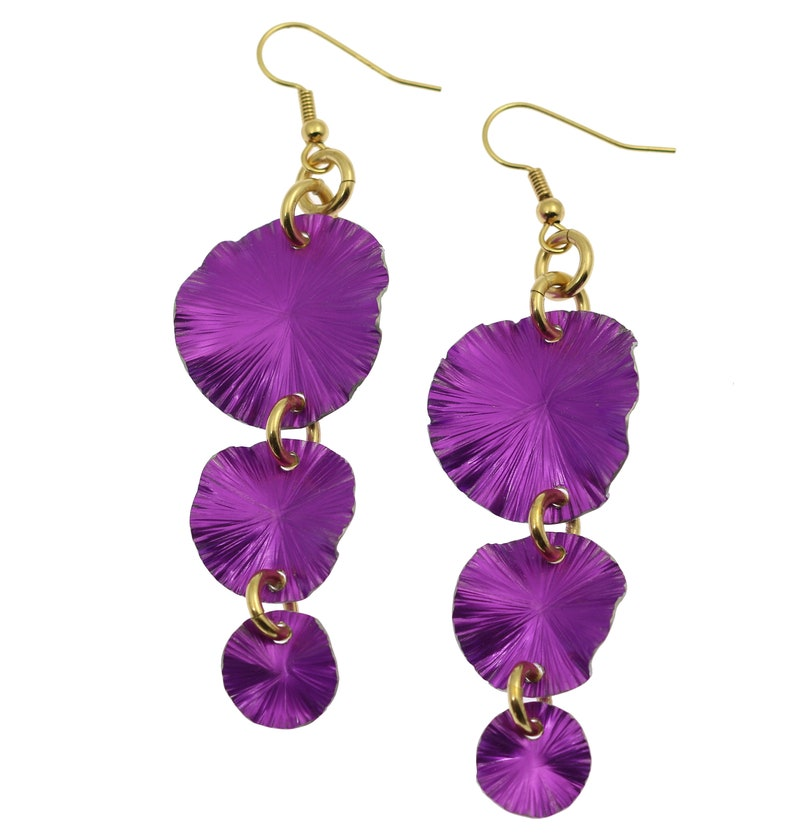 Violet Leaf Earrings Violet Gold Flower Earrings Violet image 0