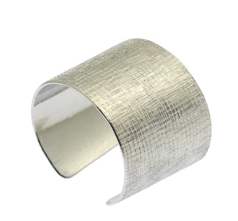 Linen Texturized Aluminum Cuff  Silver Tone Statement image 0