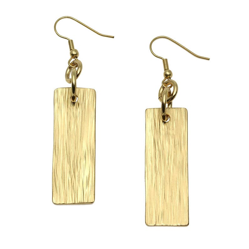 Nu Gold Brass Bark Dangle Earrings  Gold Dangle Earrings  image 0