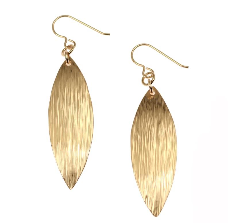 Bronze Bark Leaf Drop Earrings Bronze Drop Leaf Earrings image 0