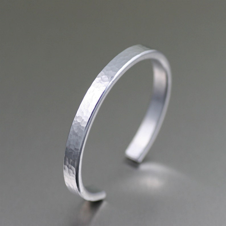 Thin Hammered Aluminum Cuff  Silver Stackable Mix and Match image 0