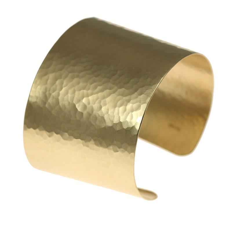 Matte Finished Hammered Gold Cuff Bracelet  Brushed Wide Gold image 0