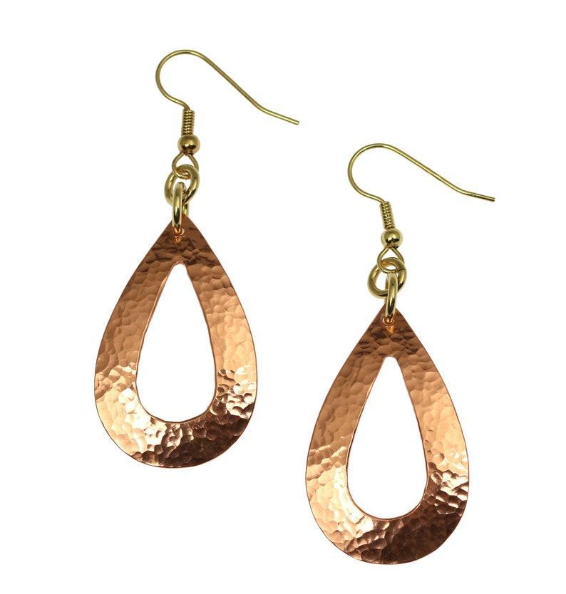 Hammered Copper Open Teardrop Earrings Hammered Copper image 0